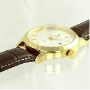 Royal London Gents Gold Tone Leather Strap Watch