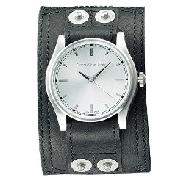 "Calvin Klein - Gent's ""Renegade"" Black Leather Cuff Watch"