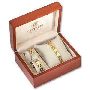 Citizen Ladies Eco Drive Gold Plated Watch and Bracelet Set