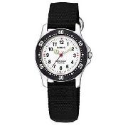 Lorus - Boy's White Round Dial with Black Fabric Strap Watch