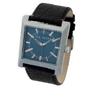 Ted Baker - Men's Blue Square Dial with Black Strap Watch