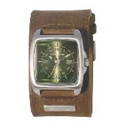 Kahuna - Men's Green Square Dial with Brown Cuff Watch