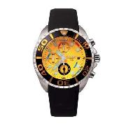 Police - Men's Orange Dial with Black Rubber Strap Watch