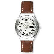 Swatch - Men's White Round Dial and Brown Leather Strap Watch