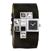 D&G Time - Women's Cube Design Black Strap Watch