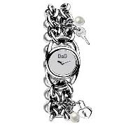 D&G Time - Women's Silver Coloured Padlock and Key Bracelet Watch
