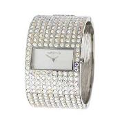 Red Herring - Women's Silver Coloured Studded Bangle Cuff Watch