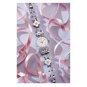 Swatch - Women's Silver Dial Crystal and Flower Bracelet Strap Watch