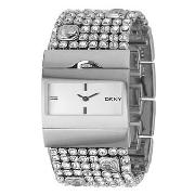 DKNY - Women's White Dial Diamante Stud Bracelet Watch