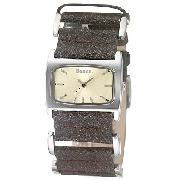 Bench Ladies' Yellow Dial and Brown Leather Strap Watch