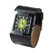 Bench Men's Green Square Dial and Black Leather Cuff Watch