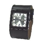 Bench Men's Silver Square Dial and Black Leather Cuff Watch