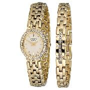 Citizen Ladies' Gold-Plated Stone-Set Bracelet Watch Set