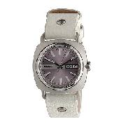 Diesel Ladies' Lilac Dial White Leather Strap Watch