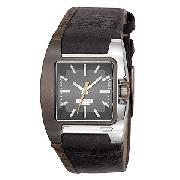 Diesel Men's Black and Grey Leather Strap Watch
