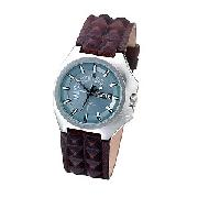 Diesel Men's Round Blue Dial and Spiky Leather Strap Watch