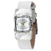 Diesel Mother-Of-Pearl Dial White Leather Strap Watch