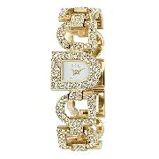 DKNY Ladies' Gold-Plated Stone-Set Bracelet Watch.