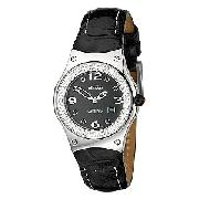 Ellesse Ladies' Black Stone-Set Leather Strap Watch