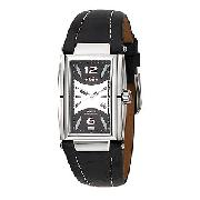 Ellesse Men's Rectangular Case Black Leather Strap Watch