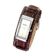 Fossil Ladies' Brown Leather Cuff Watch