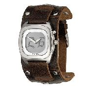 Fossil Men's Gothic Big Tic Leather Cuff Watch