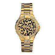 Guess Ladies' Animal Print Dial Ion-Plated Bracelet Watch