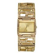 Guess Ladies' Gold-Plated Logo Bracelet Watch