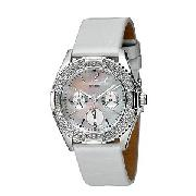 Guess Ladies' White Leather Strap Watch
