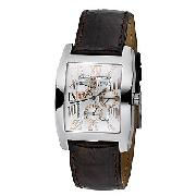 Guess Men's Brown Leather Strap Watch