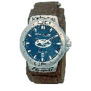 Kahuna Men's Freedrive Brown Leather Strap Watch