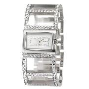 Morgan Ladies' Stone-Set Semi-Bangle Watch