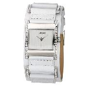 Morgan Ladies' White Leather Cuff Watch