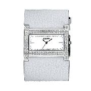 Morgan Ladies' Wide White Leather Strap Watch