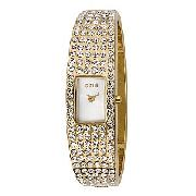Oasis Ladies' Gold-Tone Stone-Set Slim Bangle Watch