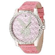 Playboy Ladies' Stone-Set Pink Leather Strap Watch