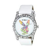Playboy Ladies' Stone-Set White Leather Strap Watch