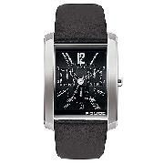 Police Men's Black Leather Strap Watch