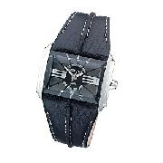 Police Men's Rectangular Black Dial and Black Strap Watch