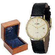 Rotary Men's 9ct Gold Leather Strap Watch
