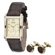 Rotary Men's Brown Strap Watch Set with Cufflinks