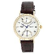 Rotary Men's Round White Dial and Brown Strap Watch