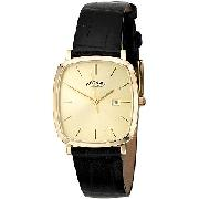 Rotary Men's Tonneau Leather Strap Watch