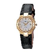 Seiko Ladies' Round Dial and Black Leather Strap Watch