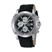 Seiko Men's Round Black Dial Chronograph Watch