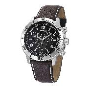 Accurist Men's Chronograph Black Leather Strap Watch