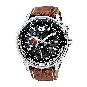 Citizen Eco-Drive 180 Men's World Time Leather Strap Watch