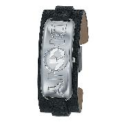 DKNY Ladies' Stainless Steel Black Leather Cuff Watch