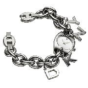 DKNY Ladies' Stainless Steel Charm Bracelet Watch
