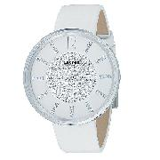 DKNY Ladies' Swarovski Crystal White Leather Strap Watch
